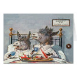 Funny Vintage Animal Card - Donkeys in Bed
