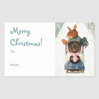 "Funny Vintage Animals Sledding ""Merry Christmas"" Rectangular Sticker"