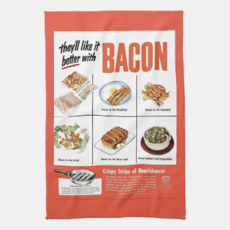 "Funny Vintage ""Better With Bacon"" Advertisement Tea Towel"