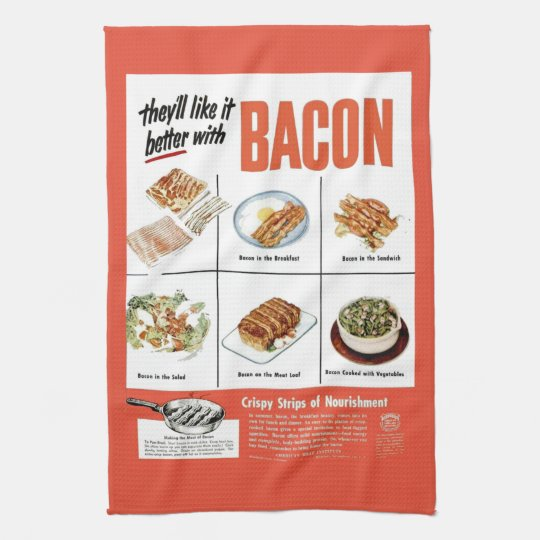 """Funny Vintage """"Better With Bacon"""" Advertisement Tea"""
