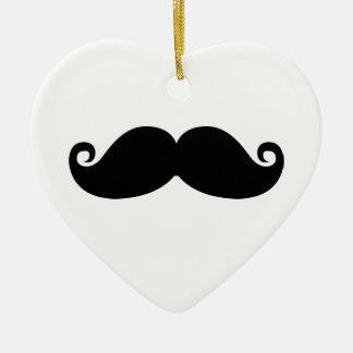 Funny Vintage Black Mustache Ceramic Heart Decoration