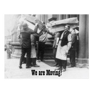 Funny vintage change of address moving men postcard