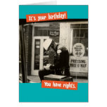 Funny Vintage Cop Birthday Rights Greeting Card