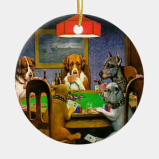 Funny Vintage Dogs Playing Poker Christmas Ornament