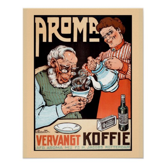 Funny vintage Dutch coffee replacement advertising Poster