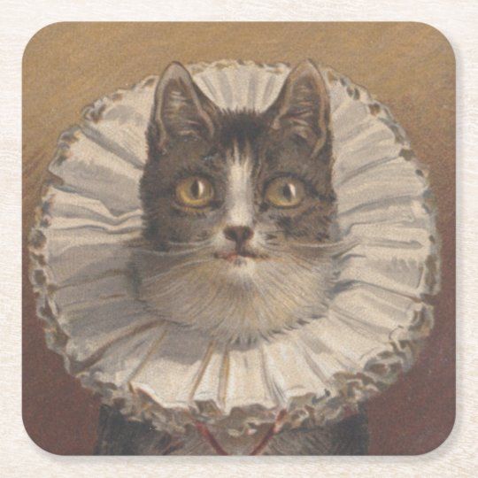 Funny Vintage Edwardian Cat Coasters, Set of 6