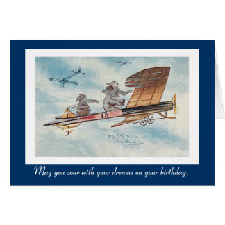 Funny Vintage Flying Elephants Birthday Card