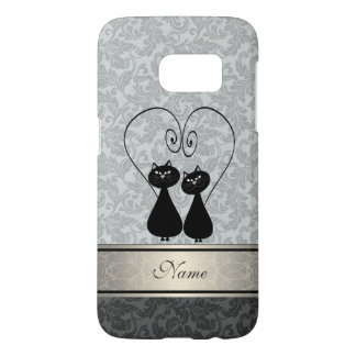 Funny vintage girly  trendy damask cats personal
