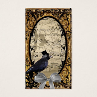 Funny vintage Gothic wedding crow Business Card
