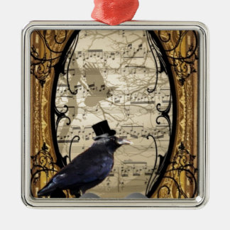 Funny vintage Gothic wedding crow Christmas Ornament