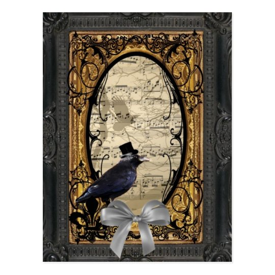 Funny vintage Gothic wedding crow Postcard