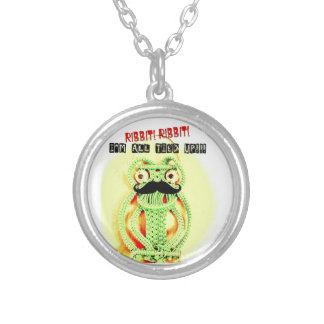 Funny Vintage Green Frog Moustache I m All Tied Up Necklace