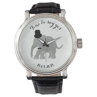 Funny Vintage Groom Encouragement Elephant Wrist Watches