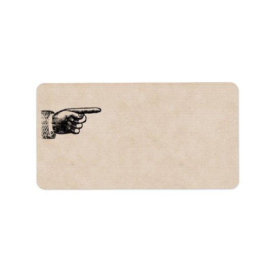 Funny Vintage Hand | Tan Blank Address Label