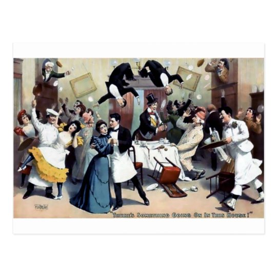 Funny vintage house party postcard