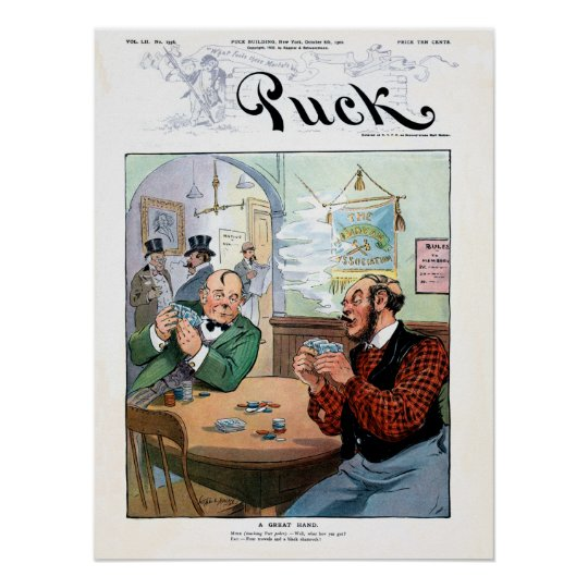 Funny vintage Irish poker cartoon from Puck Poster