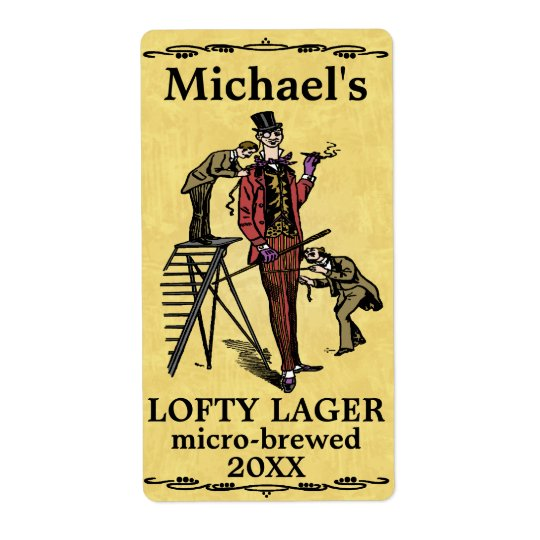 Funny Vintage Lofty Lager Beer Label Shipping Label