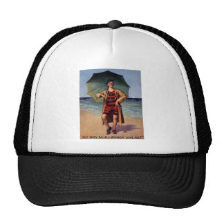 funny vintage man sea bathing suit umbrella poster cap