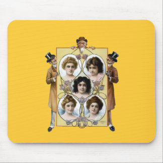 Funny vintage men women poster mouse pads