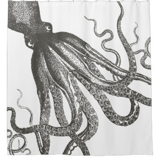Funny Vintage Octopus Tentacles Wrapping Around Shower Curtain