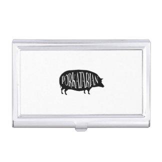 Funny Vintage Pig - Porkatarian - I Love Bacon Business Card Holder