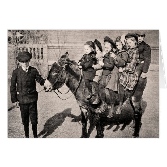 Funny Vintage Portrait Children Donkey Balancing Card
