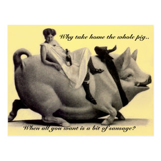 Funny vintage Postcard lady riding a pig why take