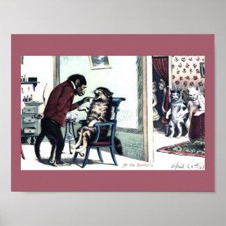 Funny Vintage Print Monkey Dentist w/ Cat Patients