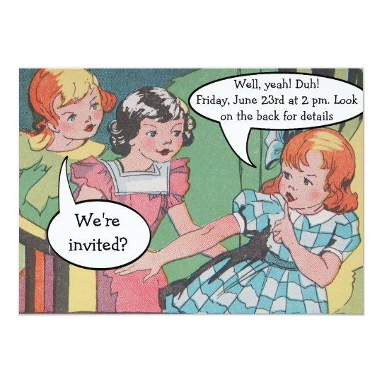 Funny Vintage Retro Cartoon Comic Party Card