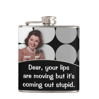 Funny Vintage Retro Lady Hip Flask