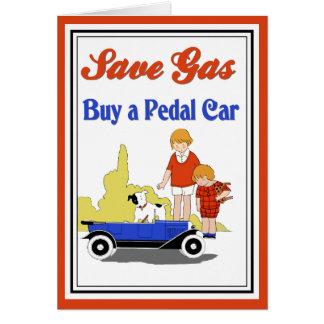 Funny vintage retro Save Gas pedal car ad Card