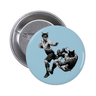 funny vintage rugby playing cats 6 cm round badge