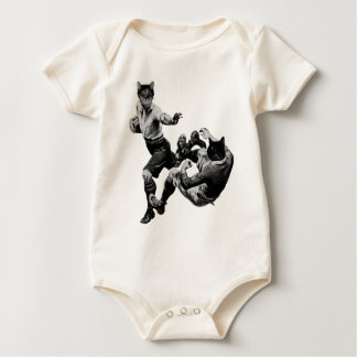 funny vintage rugby playing cats baby bodysuit