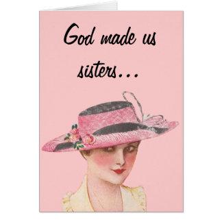Funny Vintage Sisters Greeting Card