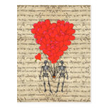 Funny vintage Skeleton and red heart