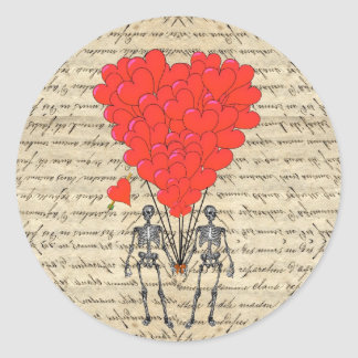 Funny vintage Skeleton and red heart Classic Round Sticker