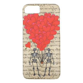 Funny vintage Skeleton and red heart iPhone 8/7 Case