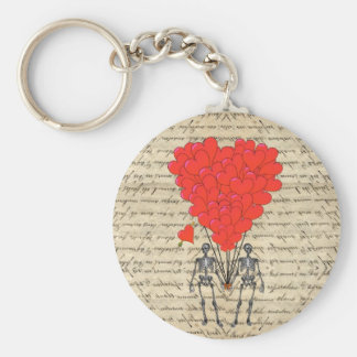 Funny vintage Skeleton and red heart Key Chains