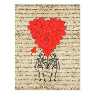 Funny vintage Skeleton and red heart Postcard