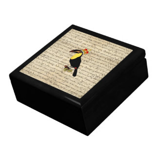 Funny vintage toucan & crown gift box