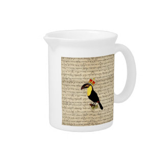 Funny vintage toucan & crown pitcher