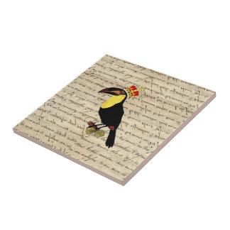 Funny vintage toucan & crown tile