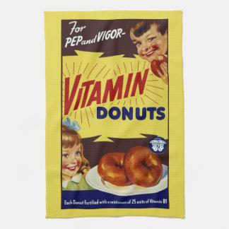 "Funny Vintage ""Vitamin Donuts"" Advertisement Tea Towel"