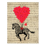 Funny vintage zebra & heart balloons