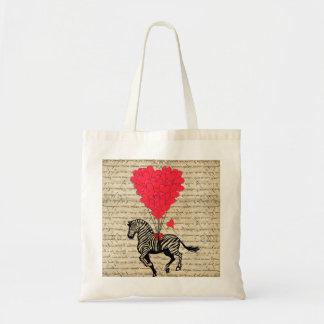 Funny vintage zebra & heart balloons budget tote bag