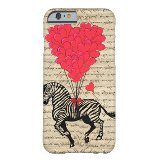 Funny vintage zebra & heart balloons barely there iPhone 6 case