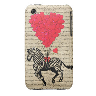 Funny vintage zebra & heart balloons iPhone 3 Case-Mate cases