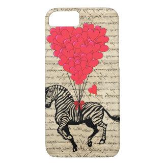 Funny vintage zebra & heart balloons iPhone 8/7 case