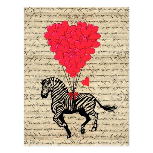 Funny vintage zebra & heart balloons postcard