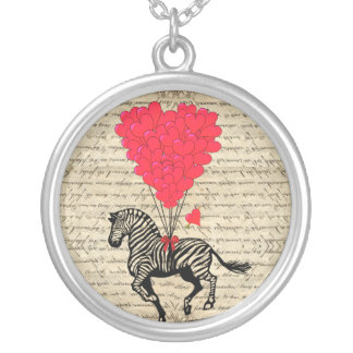 Funny vintage zebra & heart balloons silver plated necklace